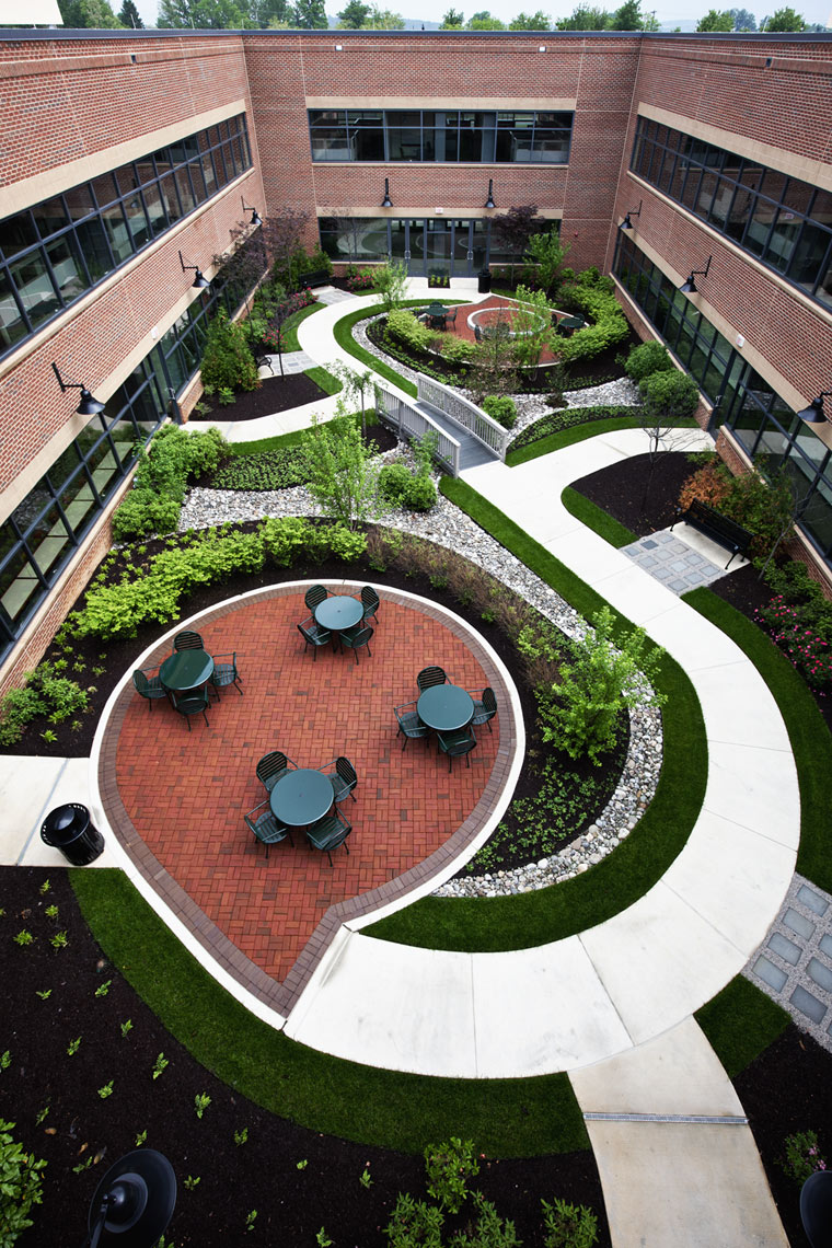 Architectural photo of an office building courtyard