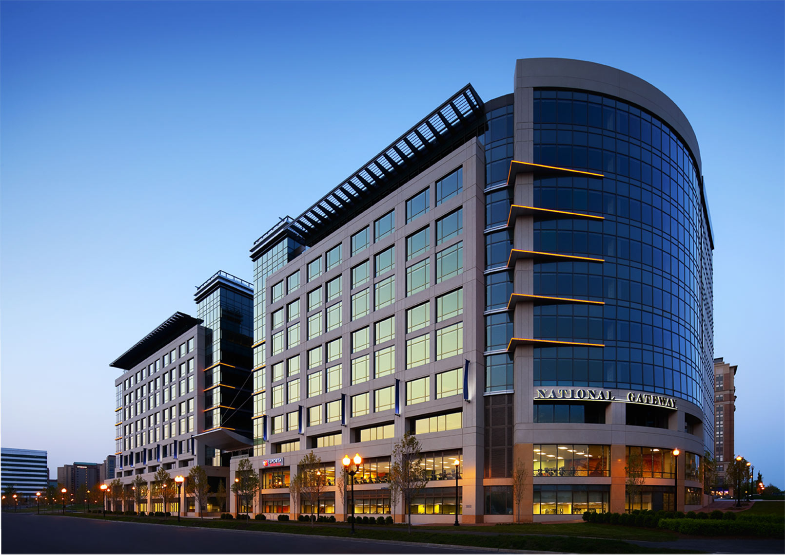 Architectural photograph of an office building at dusk