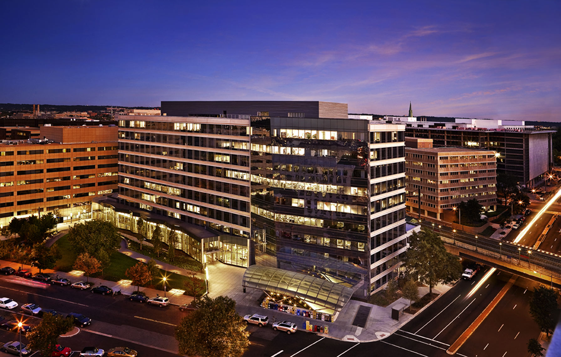 Architectural photograph of an office building in DC at dusk