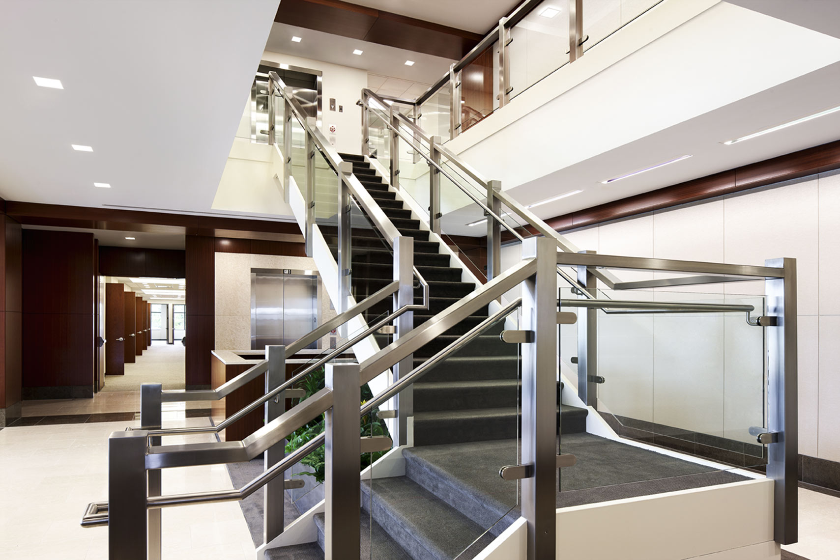 architectural photograph of ab office building interior staircase by Dan Poyourow