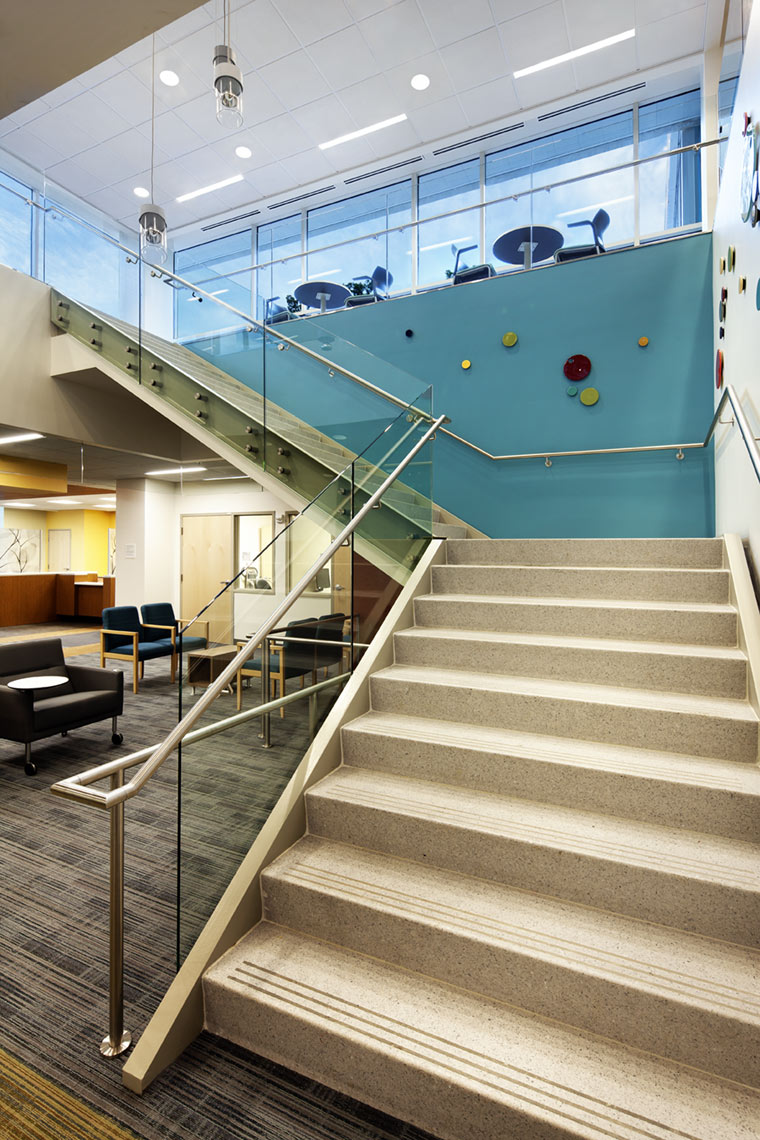 architectural photograph of a health care facility staircase by Dan Poyourow