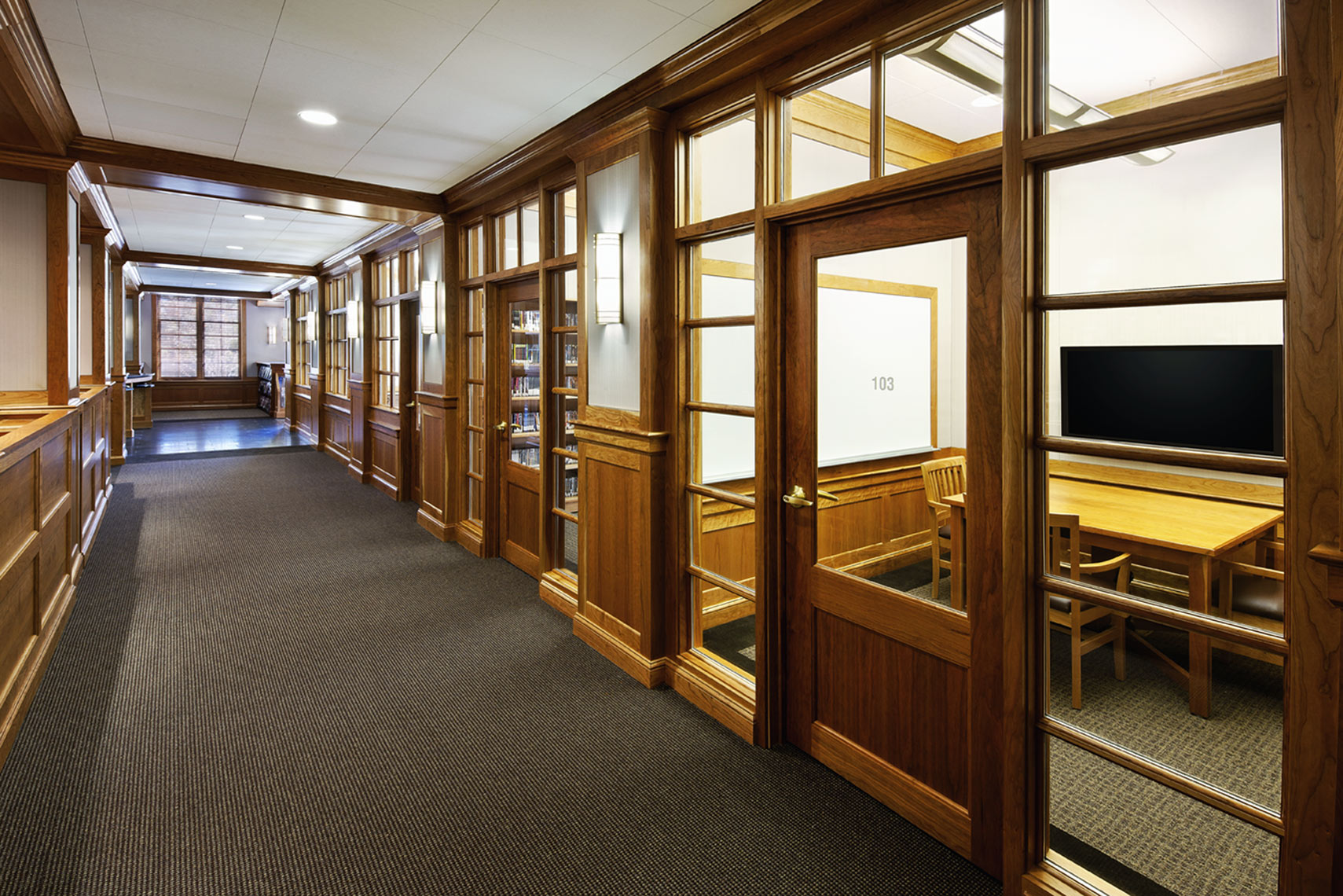 architectural photograph of a high school library interior