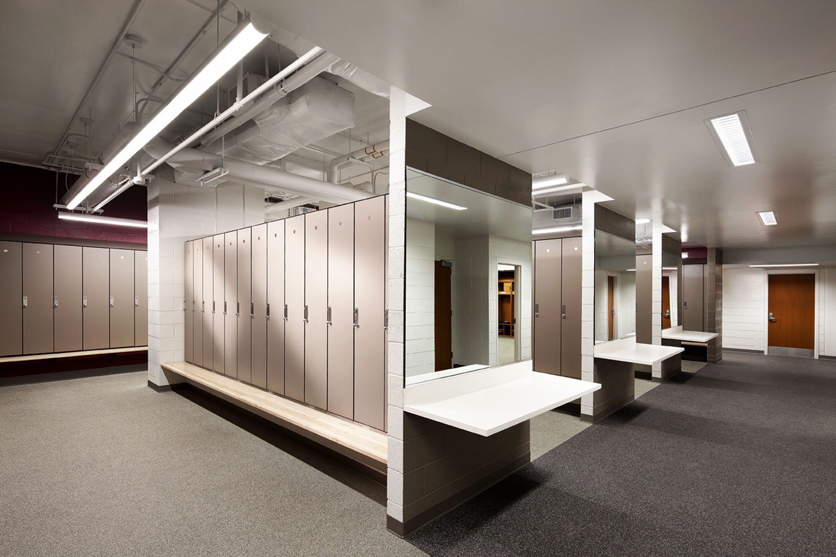architectural photograph of a high school gym locker room
