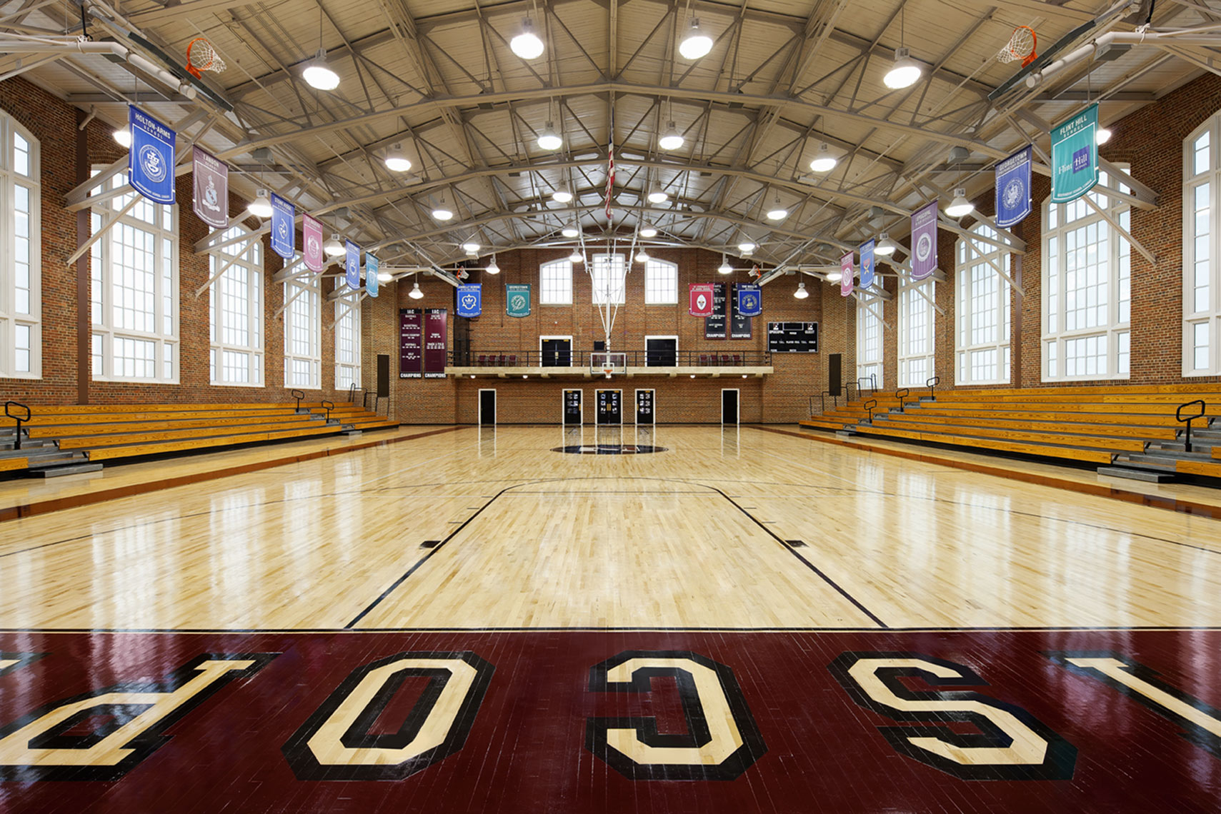 architectural photograph of a high school gym interior by Dan Poyourow