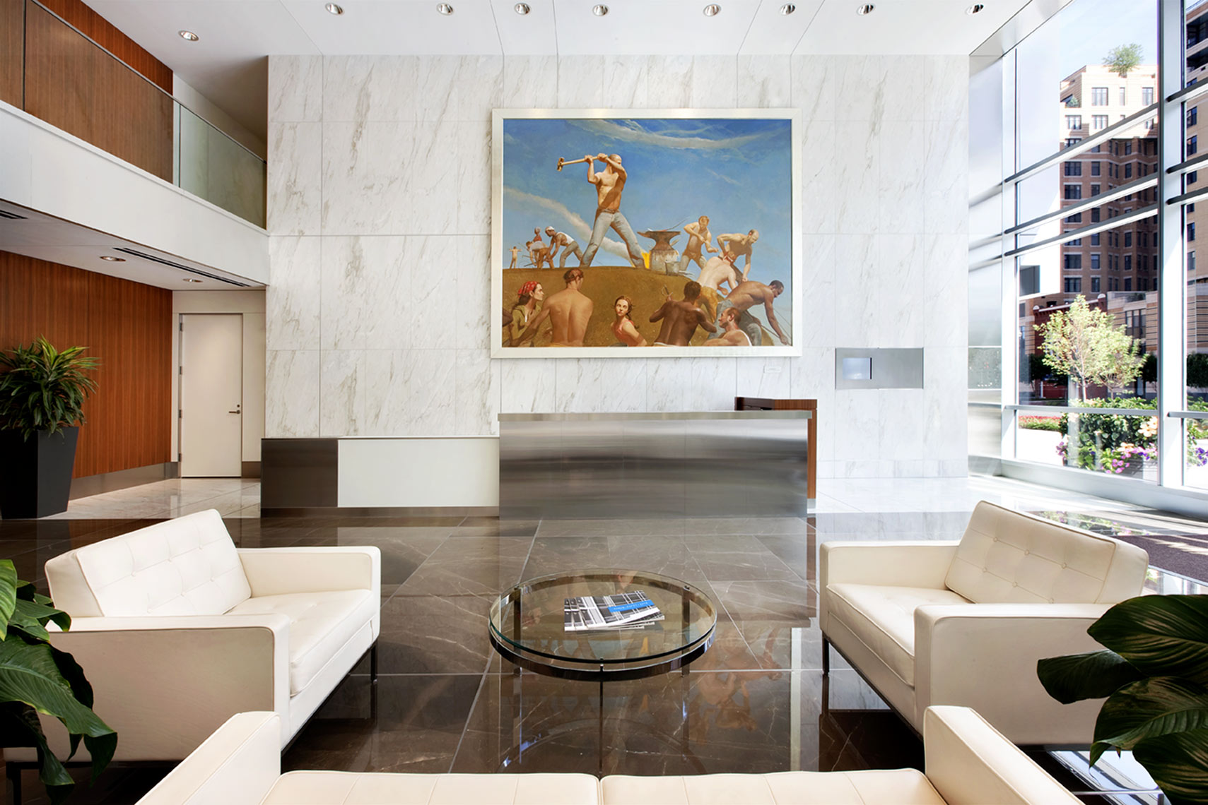 architectural photograph of a condo building lobby by Dan Poyourow