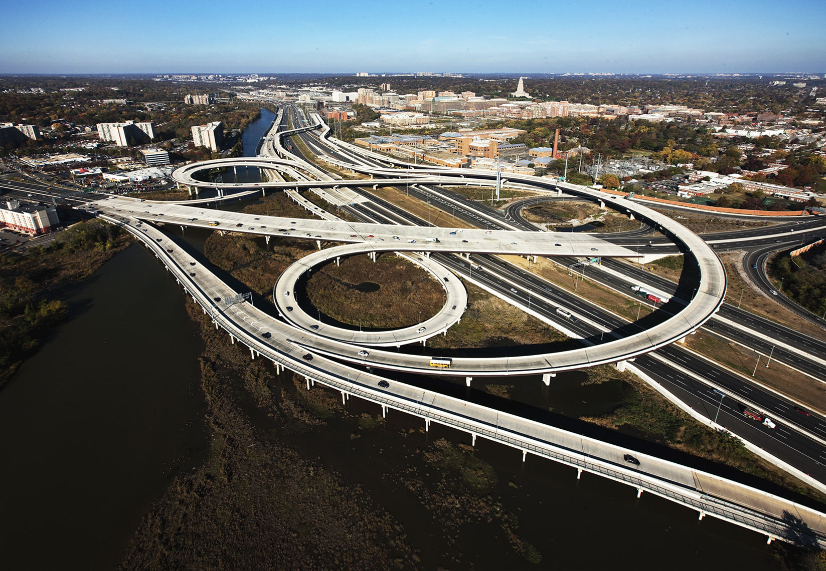 aerial photograph of highway interchange