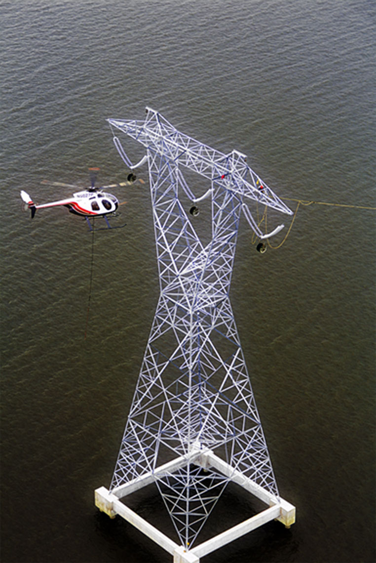 Aerial or engineering photography of power line stringing