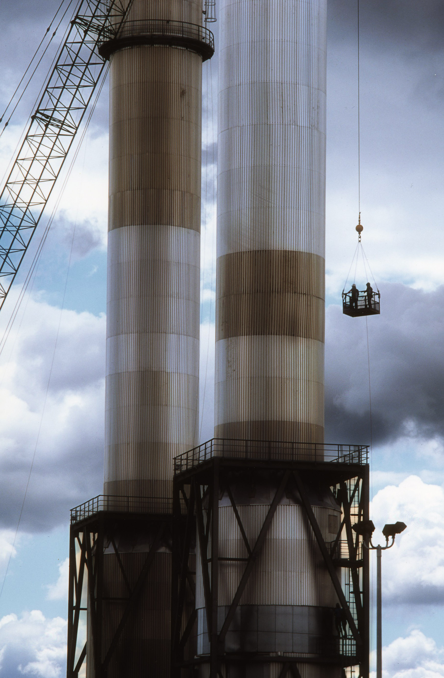 industrial photograph of exhaust towers