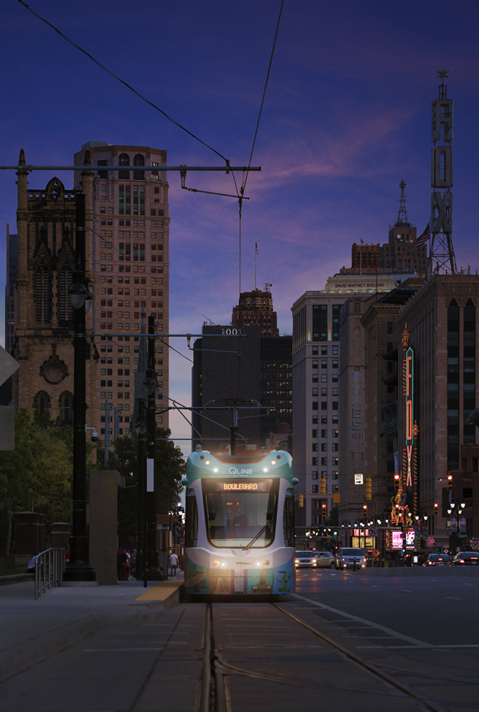 Engineering photograph of streetcar in Detroit, MI
